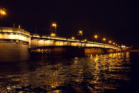 neva: Bridge across the Neva River. Night scene.