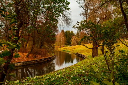 suburbs: Park in the suburbs of St. Petersburg at cloudy day. Stock Photo