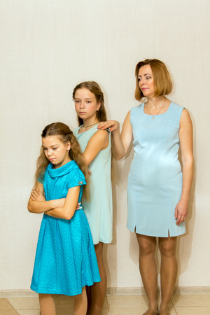 transitional: Two sisters are offended her mother. Family conflict.