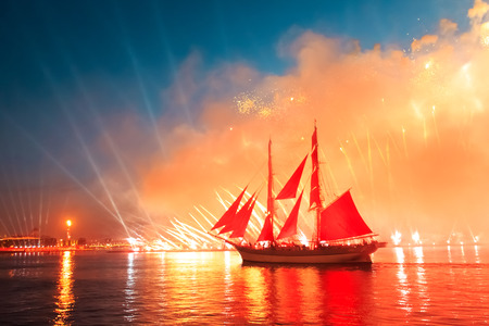 brig: Celebration Scarlet Sails show during the White Nights,  St. Petersburg, Russia. Stock Photo