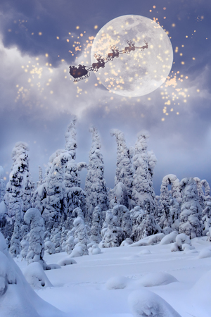 Santa Claus flying through the sky over the snow-covered forest.