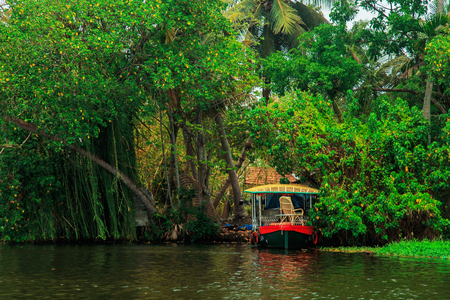 backwater: Houseboat on the canals of Alleppey, Kerala state, South India. Travel Asia. Stock Photo