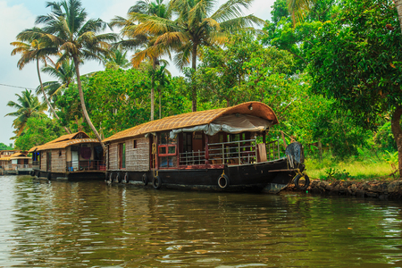 Houseboat on the canals of Alleppey, Kerala state, South India. Travel Asia. Stock Photo