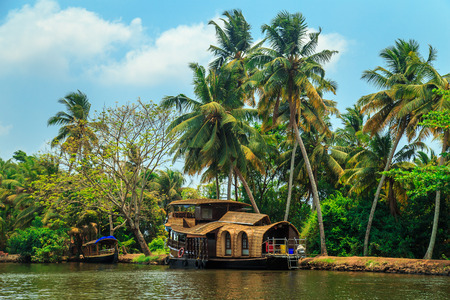 alleppey: Houseboat on the canals of Alleppey, Kerala state, South India. Travel Asia. Stock Photo