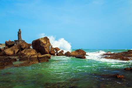 amanecer: Waves break about the rocks off the coast of Kanyakumari. The southernmost point of Hindustan and Eurasia.