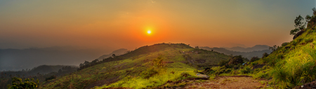 Beautiful sunset in the mountains. Munnar, Kerala state, South India.