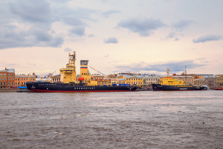 ST PETERSBURG, RUSSIAN FEDERATION - 30. 04.2017. Festival of icebreakers on the Neva River.