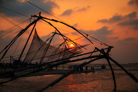 Chinese fishing nets in Fort Kochi, Kerala state, South India.