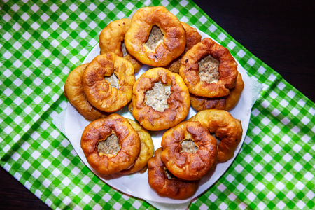 Small fried patties with meat and onions. Traditional Tatar dish.