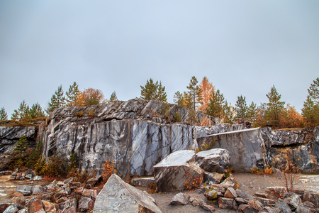 Abandoned marble canyon in the mountain park of Ruskeala, Karelia, Russia. Awesome autumn landscape. Stock fotó