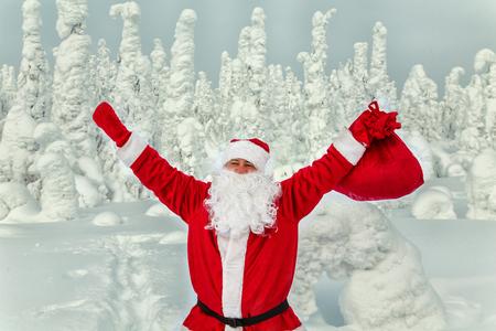 Authentic Santa Claus in Lapland. Magnificent snow-covered landscape.