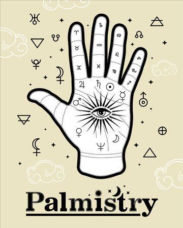 Chiromancy. Palmistry Life Lines Vector vintage illustration, magic alchemy spirituality zodiac symbol.