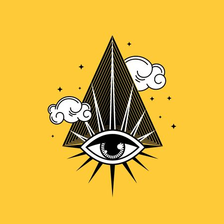 Eye of Providence. Mystical drawing. Vector illustration