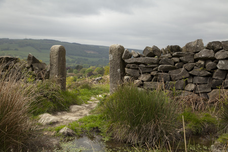 drystone: A drystone wall and gateposts in the Peak District