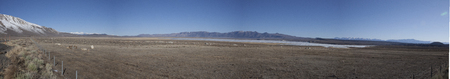 evaporating: Panorama of Crowley Lake in California