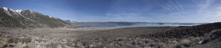 evaporating: Panorama of Mono Lake in California Stock Photo