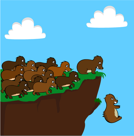cliff jumping: Lemmings Jumping off a Cliff