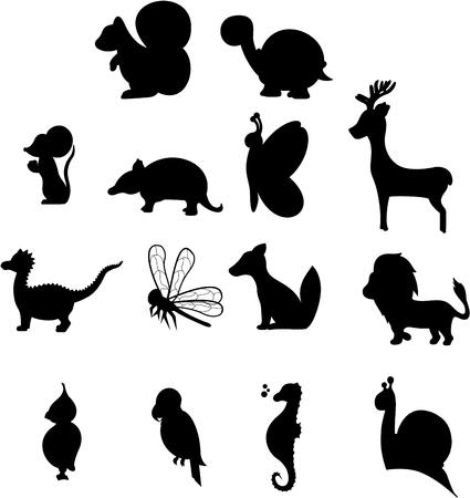 animal silhouettes: Animal Silhouettes Illustration
