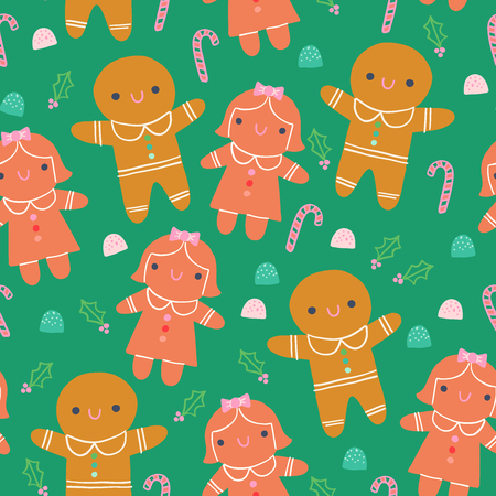 Cute Gingerbread Cookie Sweets Illustration Seamless Pattern Green Background
