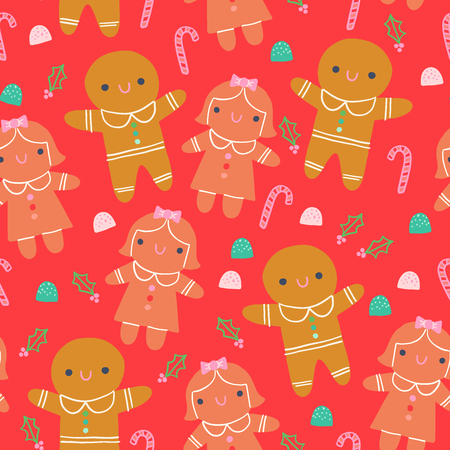 Cute Gingerbread Cookies Seamless Christmas Pattern Red Background Illustration