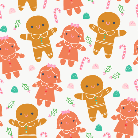 Cute Gingerbread Cookie Sweets Illustration Seamless Pattern Illustration