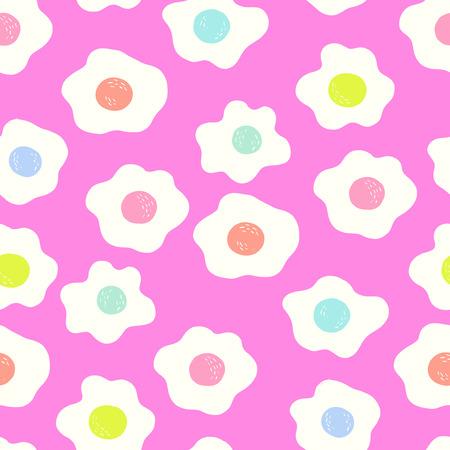 Trendy Bright Egg Seamless Pattern Pink Background 向量圖像