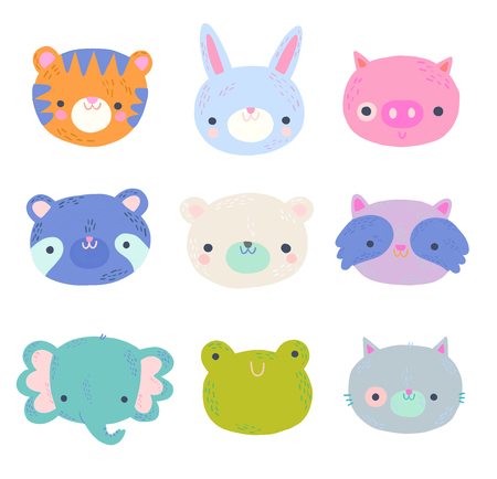 Cute Baby Animal Faces Clip Art Set Illustration