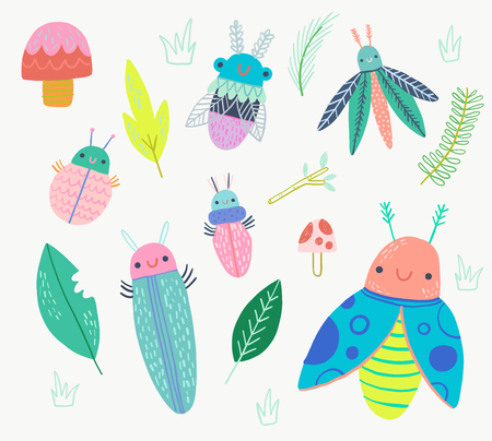 Cute Bugs with leaves and mushrooms