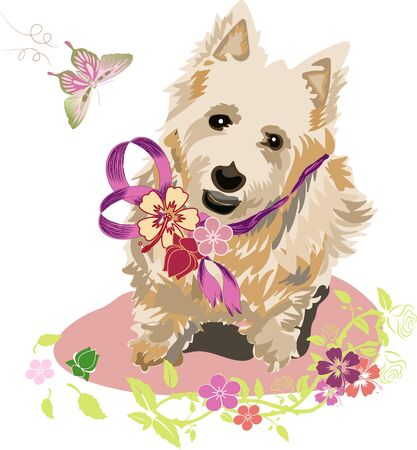 Lovely West Terrier Dog with Flowers and Butterfly