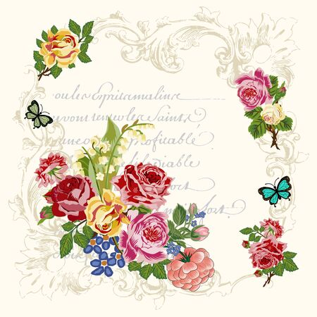 Victorian roses, butterflies in French scroll frames, with French script in background. This vector image is great for greeting cards, wedding invitation, Victorian style projects. Beige background.