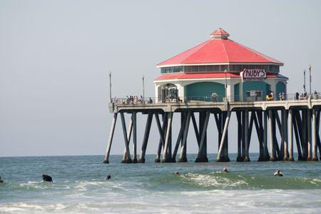 Close up view of the Huntington Beach Pier photo