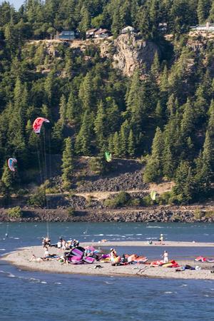 Scenic Hood River in Oregon Stock Photo