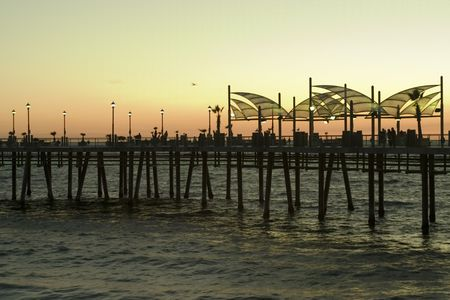 Redondo Beach pier at sunset Stock Photo