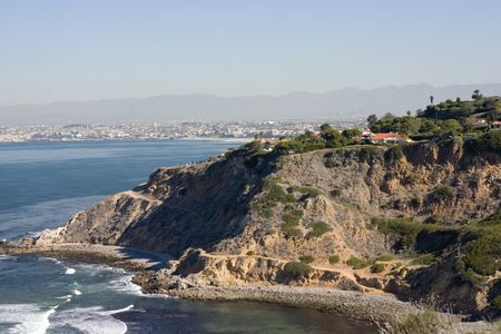 Palos Verdes coastline and Santa Monica Bay from in the far view Stock Photo