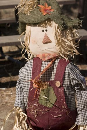 Scarecrow at the annual pumpkin festival in the valley
