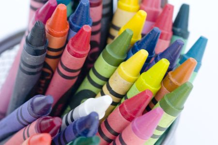 Color crayons close-up