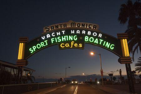 Santa Monica Pier entrance at night photo