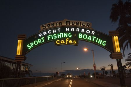 Santa Monica Pier entrance at night