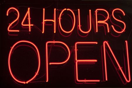 24 Hour Open Neon Sign Stock Photo