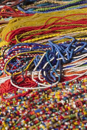 Rainbow color bead necklaces photo