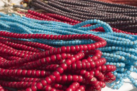 Pretty bead necklaces in red, turquoise and brown photo
