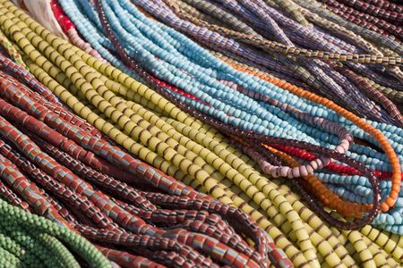 Beaded necklaces in ethnic colors photo