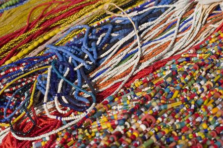 Strands of colorful bead necklaces photo