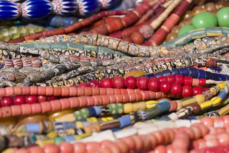 Colorful bead necklaces from the African continent photo