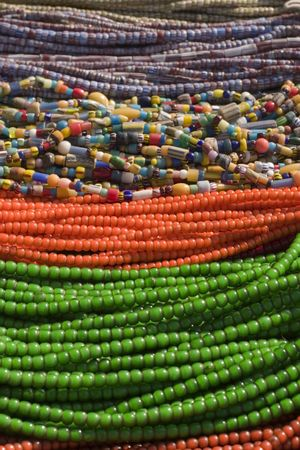 Beaded neacklaces in bright colors photo
