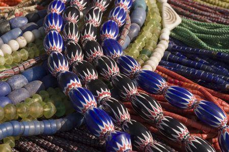 村のデザイン ビーズのネックレス 写真素材