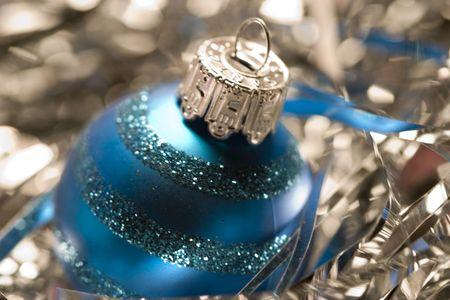 asher: Blue Christmas tree light ornament