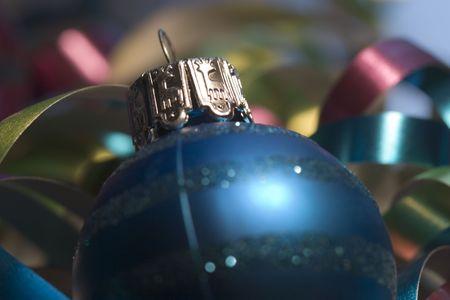 asher: Blue Xmas ornaments close up