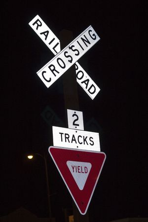 yield: railroad crossing and yield sign