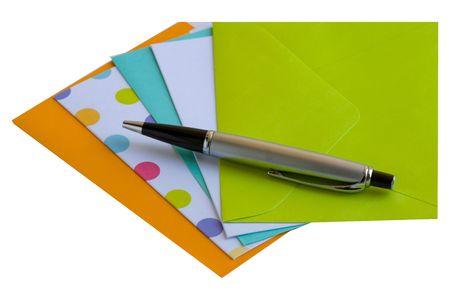 Nota tarjetas, sobres a juego y un bolígrafo  Foto de archivo - 2221351